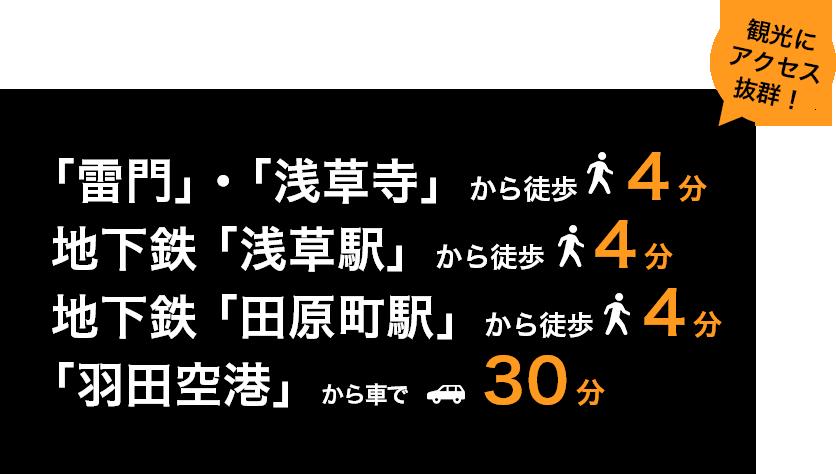 「雷門」・「浅草寺」から徒歩4分  地下鉄 「浅草駅」から徒歩 4分 地下鉄 「田原町駅」から徒歩4分「羽田空港」から車で30分